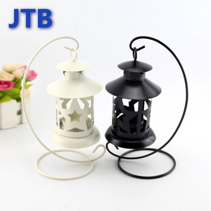 Night Lights Star Lamps European Round Candlestick Home Design Desk Candle Lights for home decorate Iron Black and White Color(China (Mainland))