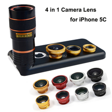 Mobile lenses with Covers For iPhone 5c Camera Lens Kit 8x Telephoto Lens + Fisheye fish eye Lens + 2 in 1 Wide Angle Macro Lens(China (Mainland))