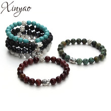 Buy XINYAO 2017 Natural Stone Turquoises Black Lava Beads Bracelet Antique Gold Silver Color Buddha Head Charm Bracelets Men Women for $2.05 in AliExpress store