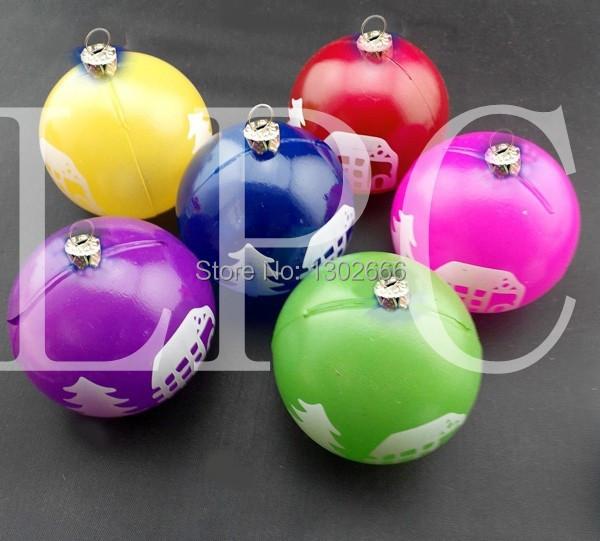 18PCS free shipping led christmas ball semi clear plastic ,christmas ball with led light(China (Mainland))