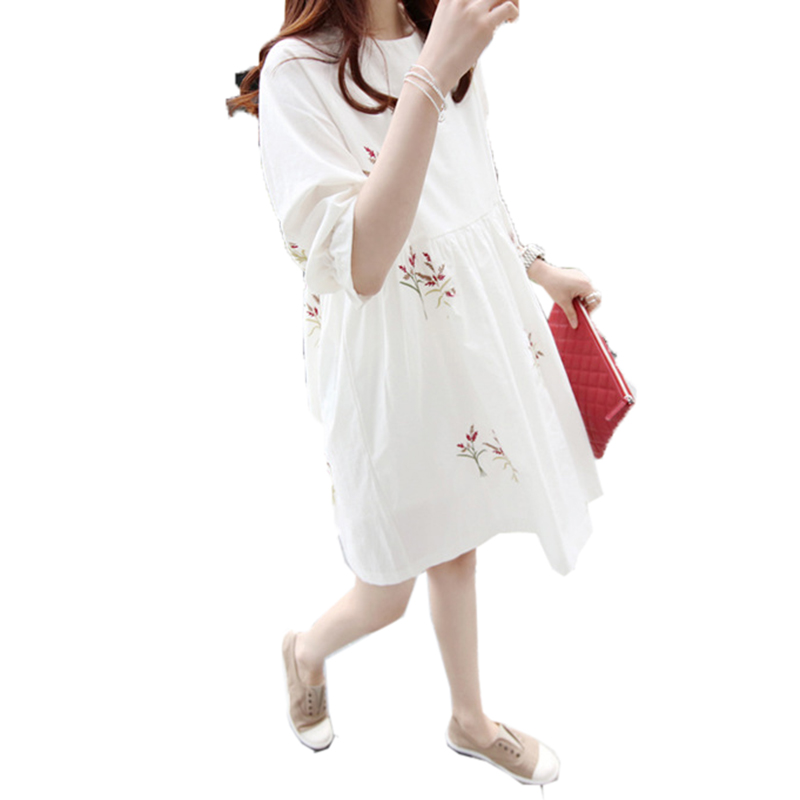 2016 Summer Korean Style Casual Women Dress Floral Embroidery 3 4 Sleeve Loose Midi Dresses