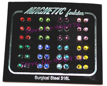 New Arrival 3mm Earrings ear stud Magnetic Ring Crystal Men Woman Fashion Jewelry 48pcs 24pair/lot Wholesale Nail Display Card