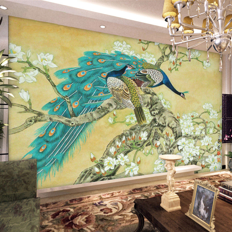 Vintage home decor chinese wallpaper mural tv background for Wall to wall wallpaper