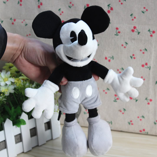 Free Shipping 25cm=9.8inch Original Mickey Mouse Classic Black White Stuffed animals Plush Soft Toy For Birthday Gift(China (Mainland))