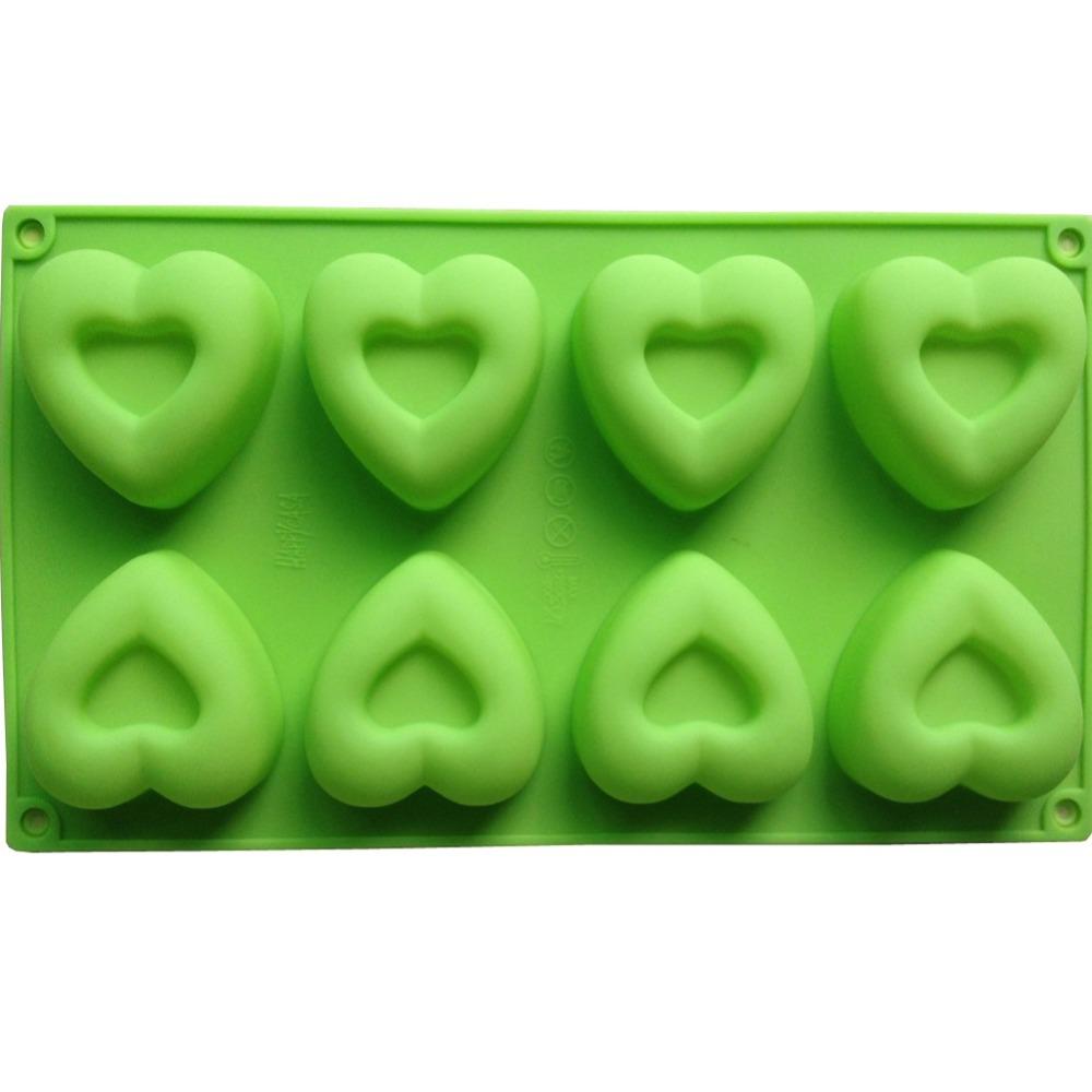8PCS Heart Type Muffin Sweet Candy Jelly Fondant Cake Mold Silicone Tool Baking Pan B042(China (Mainland))