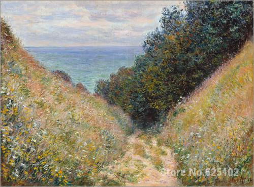 Impressionist artist,Road at La CavEe, Pourville II by Claude Monet Reproduction,High quality,Handmade(China (Mainland))
