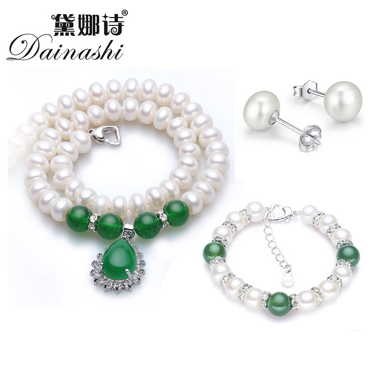 Dainashi new large natural 9-10 mm necklace women's earrings and bracelet sets with freshwater pearl green agate for women(China (Mainland))