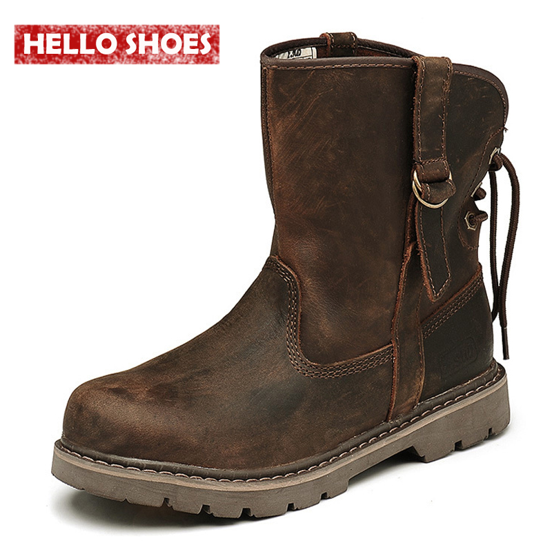 Genuine Leather Ankle Boots Genuine Leather Men Shoes New Autumn And Winter Boots British Army Boots Lovers' Boots(China (Mainland))