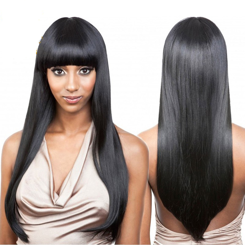 Long Black Human Hair Wigs With Bangs Wigs By Unique