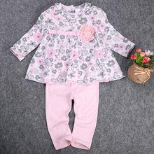 Платье принцессы 2 шт. Девочка Малыш одежда набор Новорожденных Футболки Цветочные Баски Платье + Брюки 2 шт. Одежда наряд Набор(China (Mainland))