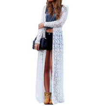 Buy 2017 Women Outwear Lace Crochet Blusas Long Sleeve Beach Kimono Cardigan Casual Loose Long Blouses Solid Tops Plus Size Shirt for $8.45 in AliExpress store