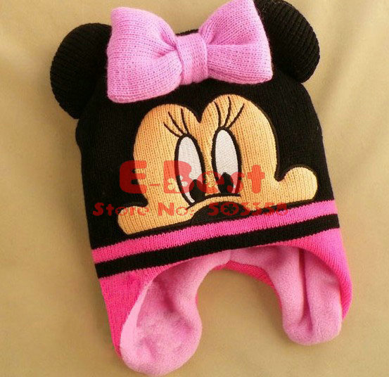 [E-Best] 3pcs/lot Cartoon Mickey/Minnie hats,Cute Bomber Hats,Baby Boy/Girl warm cap, Winter fleece hats HT096