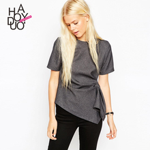 Haoduoyi 2016 Sping  Style Women Solid Short Sleeve T-Shirt Tees Lady Slim All-Match Asymmetrical O-Neck Pleated Tops XS-XXL(China (Mainland))