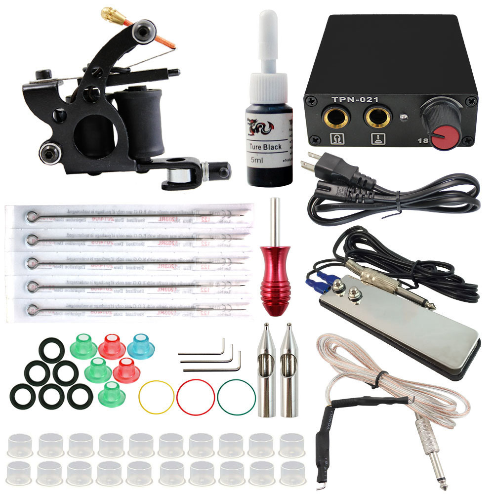 TK108001 Cheap Complete Tattoo Kit with 1 Ink and 1 Machine and 1 Power Supply and 5 Needles(China (Mainland))