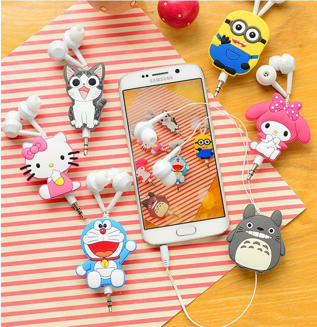 Good Gift 3.5mm Cartoon Earphone headphone headset earbuds retractable headphones For Samsung Xiaomi HTC MP3 MP4(China (Mainland))