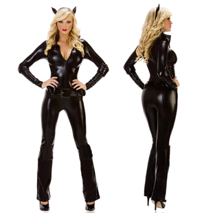 Halloween clothes cos japanned leather cat women's demon of masquerade performance wear(China (Mainland))