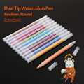 kNOW 12Colors Premium Dual Tip Watercolor Pen 0 38mm Fineliner Fibre Tip Art Markers Pen For