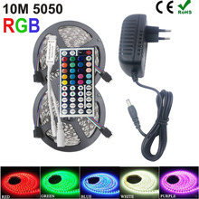 10M 5050 RGB led strip light 5M rgb 30LEDs/M Flexible led strip RGB ribbon + 44keys IR Remote Controller + 12V Power Adapter(China (Mainland))