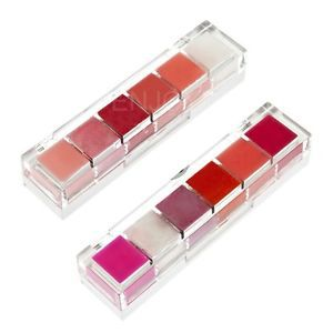 Frozen Lips 6 LIP Gloss Combination Moisturizing Make UP With Mirror Brush H5(China (Mainland))