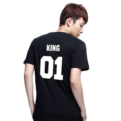 Fashion Valentine Shirts Woman Cotton King Queen 01 Funny Letter Print Couples Leisure Tshirt Short Sleeve O neck T-shirt
