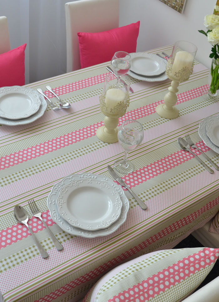 free shipping Green Wave cotton pink pastoral coffee table cloth table cloth tablecloths point(China (Mainland))