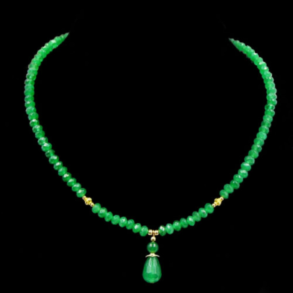 Vintage Classic Lab-created Natural Stone Jewelry Delicate Emeralds Beaded Strand Choker Necklace with Pendant(China (Mainland))