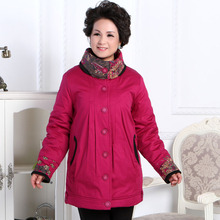 Free shipping !!! The new middle-aged woman mother dress warm cold winter fashion thick cotton-padded jacket coat / XL-4XL
