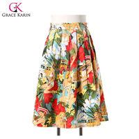 2015 Summer style Flower Print Pattern/Polka Dots Cotton Retro Vintage Skirts Womens 50s Swing Rockabilly Skirt saia feminina