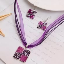 GR Jewelry women fashion necklace set Purple ribbon jewelry set for women pendant necklace set Collier Femme(China (Mainland))