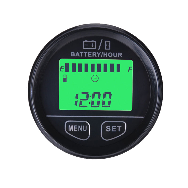 Фотография RL-BI012 large LCD green backlight display Battery Gauge VOLT meter battery indicator with hour meter for ATV Tractor golf carts