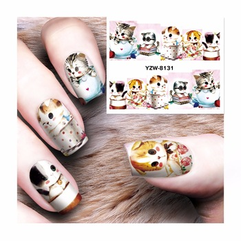 WUF 1 Sheet Water Transfer Tattoo Full Tips Nail Art Beauty Cute Cat Designs Sticker Nail Decals New 8131