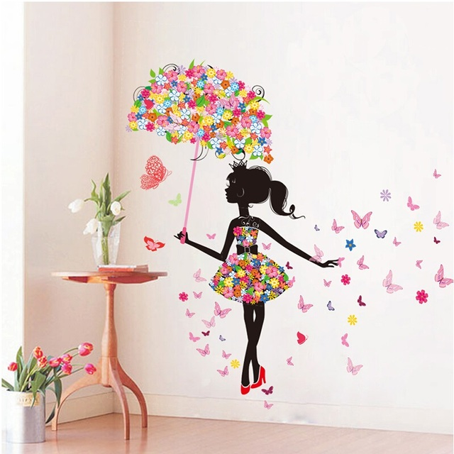 diy wall stickers pvc large wall sticker pink girl