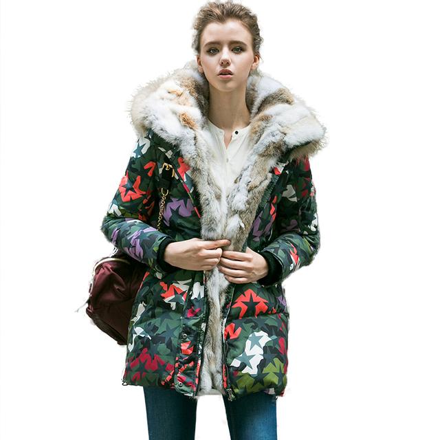ROSELUOSI Плюс Размер Женщин Распечатать Зима Вниз Пальто 2016 Реального Меховой Воротник Капюшоном Толстый Теплый Длинный Camousflage Ветровки Куртки RS174