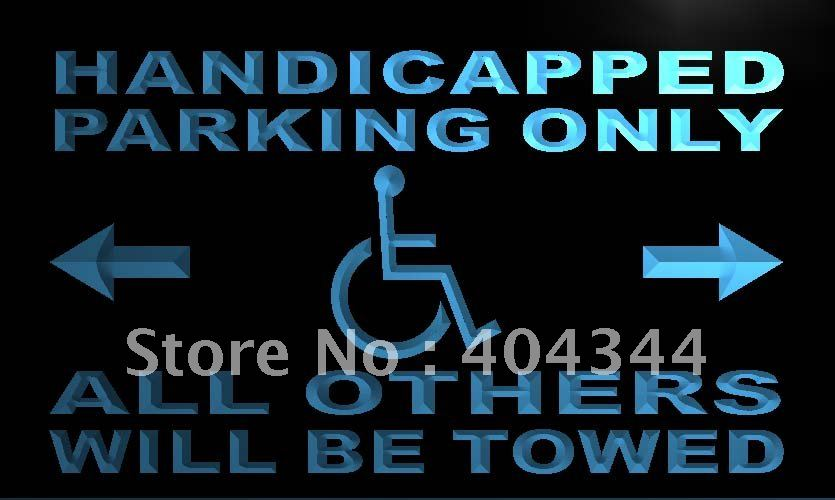 LN354- Handicapped Parking Only LED Neon Light Sign home decor shop crafts(China (Mainland))