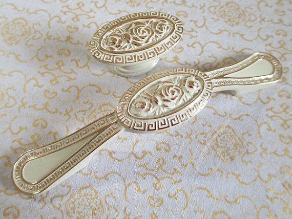Dresser Drawer Pulls Handles Knobs White Gold Flower Shabby Chic Cabinet Handle Pull Knob Furniture Handles Hardware Decorative()