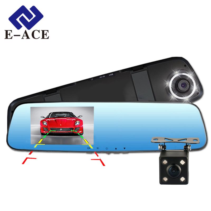 E-ACE Full HD 1080P Car Dvr Camera Mirror With Dual Lens Video Recorder Dvrs Rearview Cameras 10 Led Light Night Vision Dash Cam(China (Mainland))