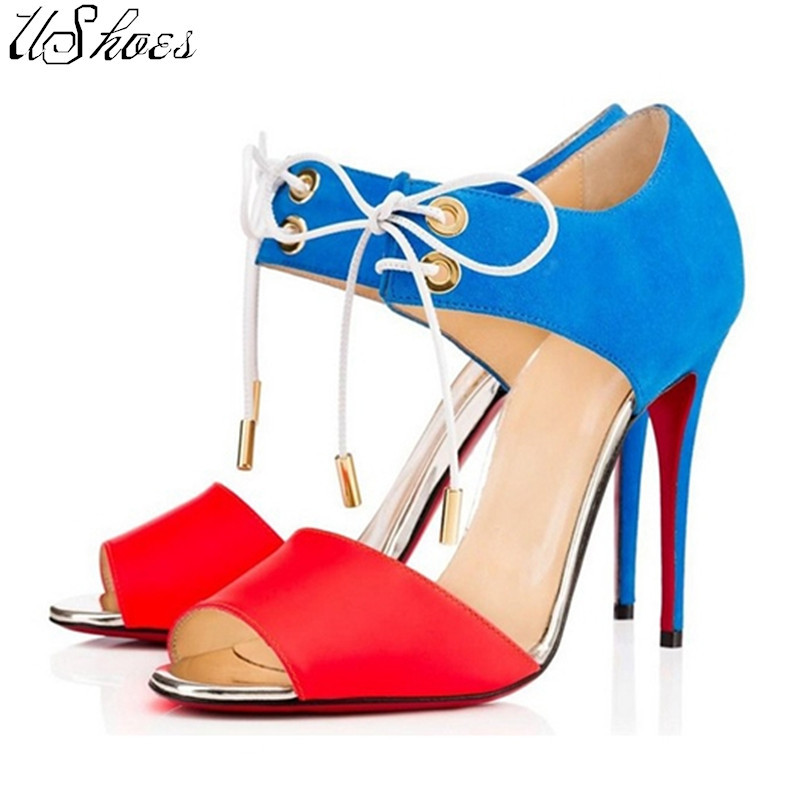 [UShoes] New 2015 Woman Red Bottom High Heels Pumps 2015 Sexy Women Shoes Lace up High heels Peep Toe Thin Heel Dress Shoes 40(China (Mainland))