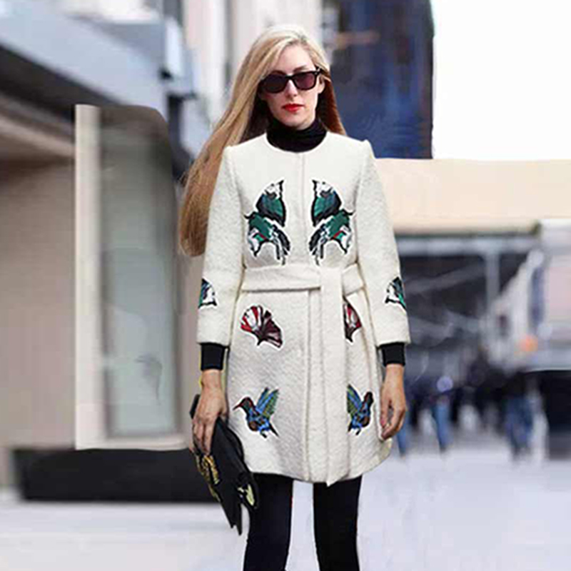 High Quality Wool Coa 2016 Winter European Fashion Runway New Arrival 3/4 Sleeve Belt High Quality Brand Birds Embroidery CoatОдежда и ак�е��уары<br><br><br>Aliexpress
