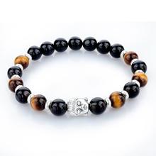 2015 Natural Stone Buddha Charm Bracelet Tiger Eye Beads Bracelets For Women and Men Jewelry SBR150171