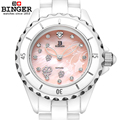 Switzerland Binger ceramic wristwatches Women fashion quartz watch Round rhinestone watches 300M Water Resistance BG 0412