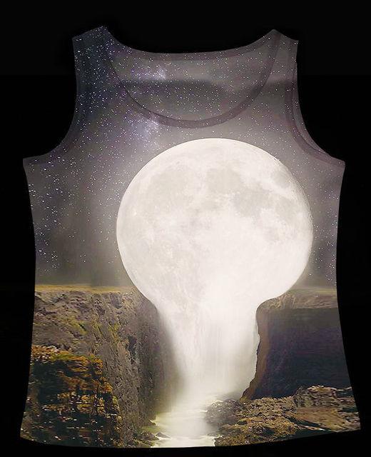 Трек корабль + свежий летний жилет танки топы майки полная луна течет кровоток гранд-каньон ...