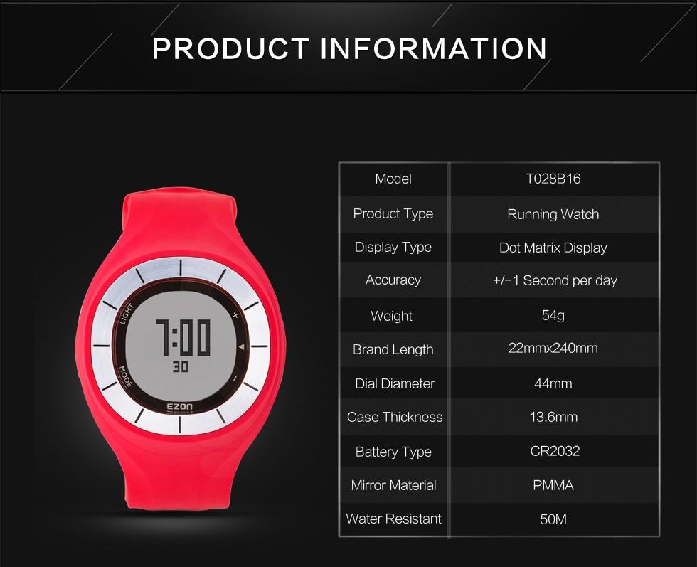 ГОРЯЧАЯ EZON водонепроницаемый спортивные часы цвет опционный тепла шагомер спортивные часы часы носимых интеллектуальных устройств