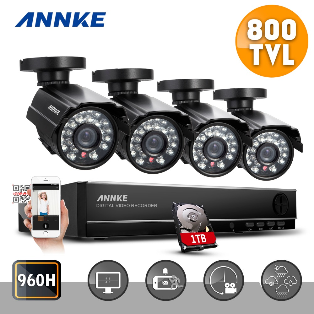 ANNKE home surveillance security camera system cctv kit with 1TB DVR 4CH full 960H channel and 4pcs 800TVL weatherproof cameras(China (Mainland))