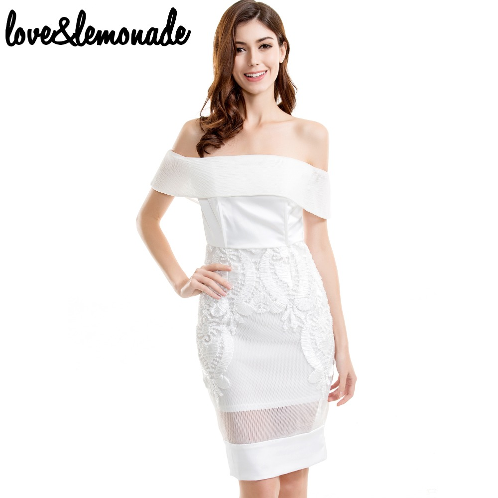 Love&Lemonade Sexy Strapless Lace Dress Collar White TB 9682