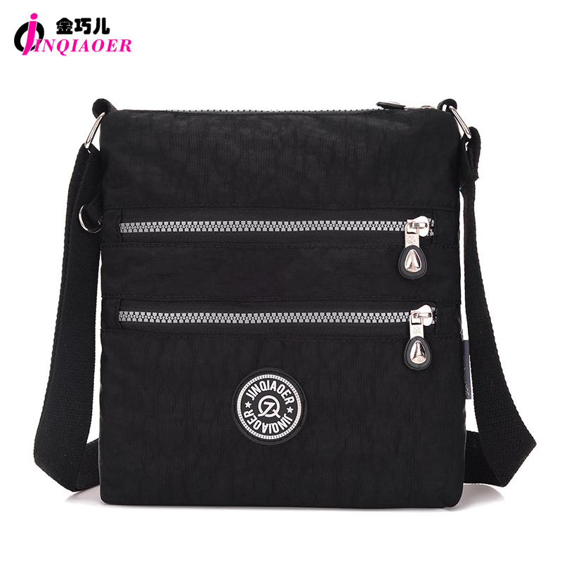 JINQIAOER Double Layer Zipper Women Shoulder Bag Waterproof Cute Messenger Bag Candy Color Brand Small Nylon Crossbody Bag Bolsa(China (Mainland))