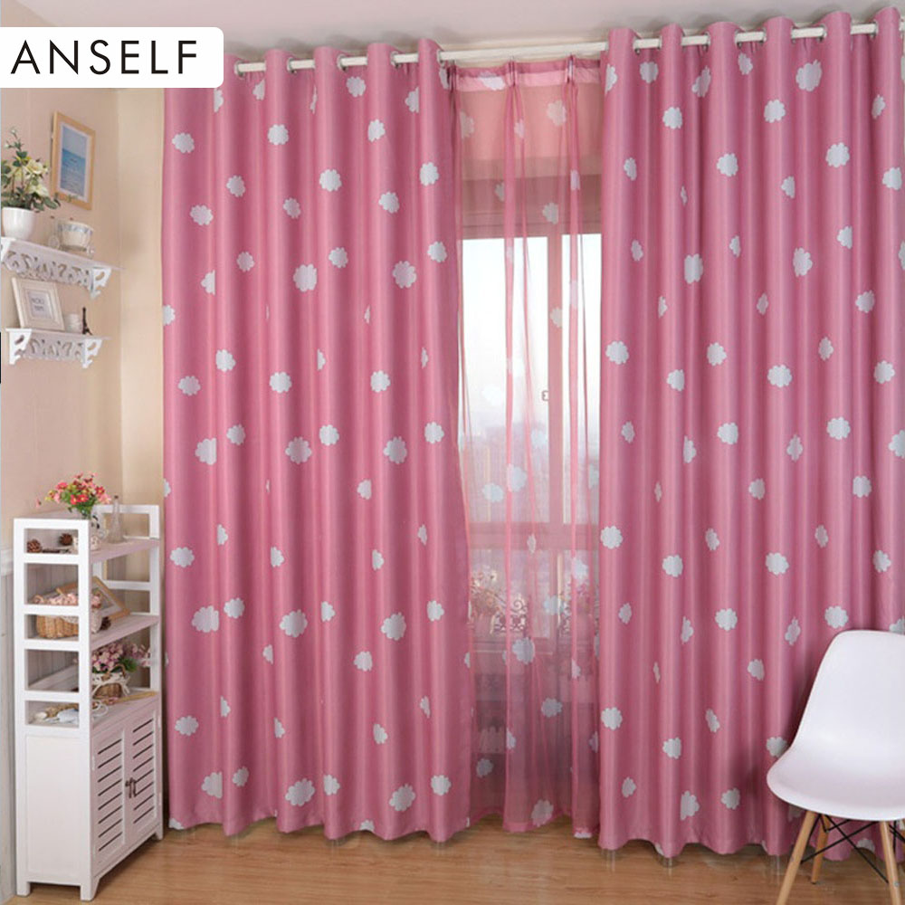 2016 Anself Curtain 2PCS Bright Colored Clouds Curtains Window Drape Classy Decoration Draperies curtains for living room(China (Mainland))