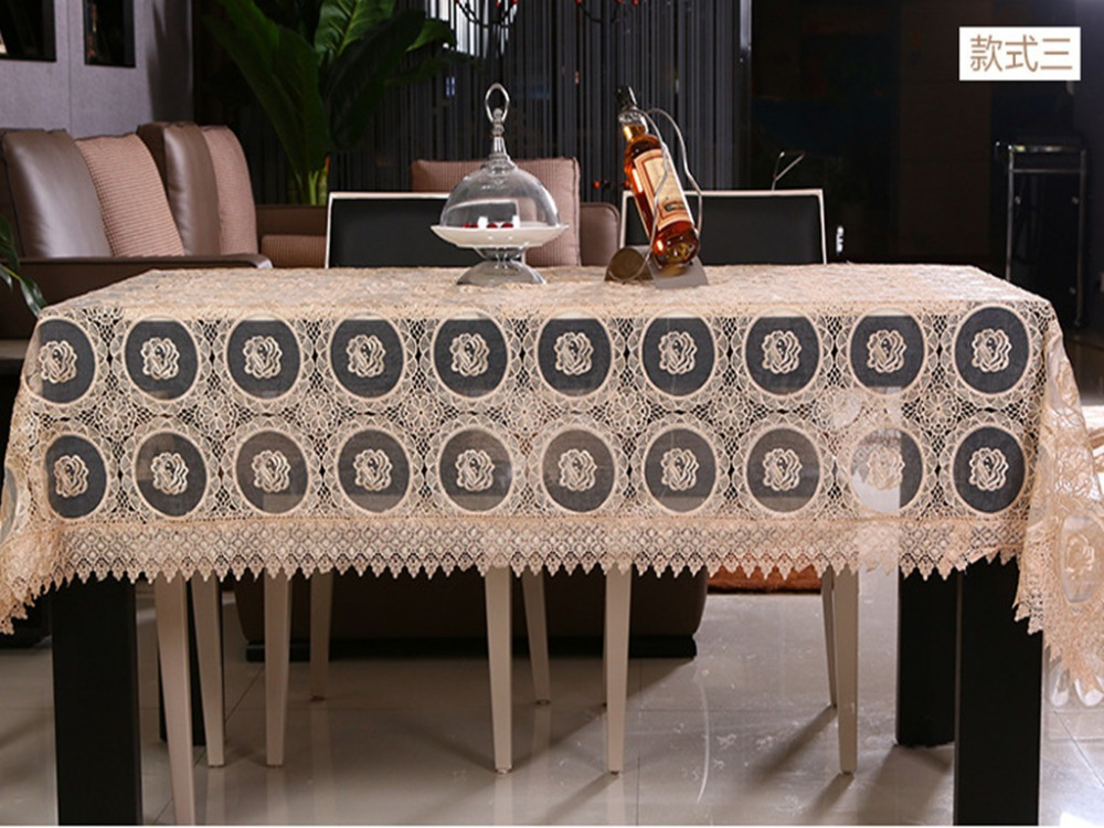 New Arrival Beige Glass Yarn Hollow Emfbroidered Soluble Lace European Style Table Cltoh Banquet Decorative Table Cloth 3 color(China (Mainland))