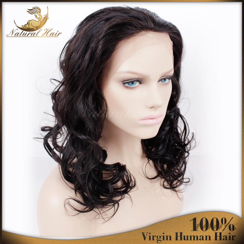 New Stylish Hair Wavy Lace Wig14 inches Natural Color  Ladys Hair Wig Top Quality 6A Virgin Brazilian Front  Lace Wigs<br><br>Aliexpress