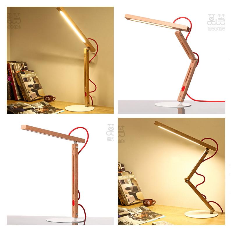 Hot Wooden desk led lamp modern table lamp 2 models led flexible lamp dimmable night light abajur de mesa bedroom lamp on table(China (Mainland))
