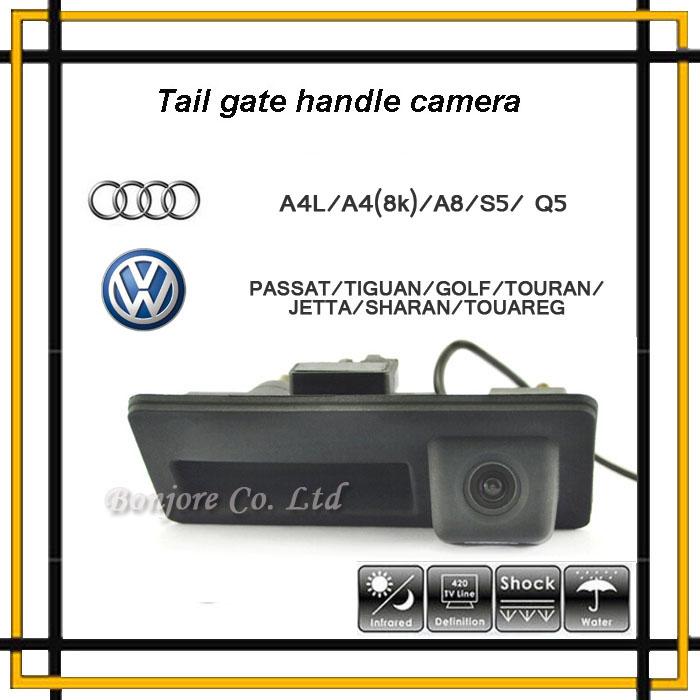 Anti Fog CCD 170Degree Car Runk Handle Parking Rearview Backup Camera for Audi/VW/Passat/Tiguan/Golf/Touran/Jetta/Sharan/Touareg(China (Mainland))